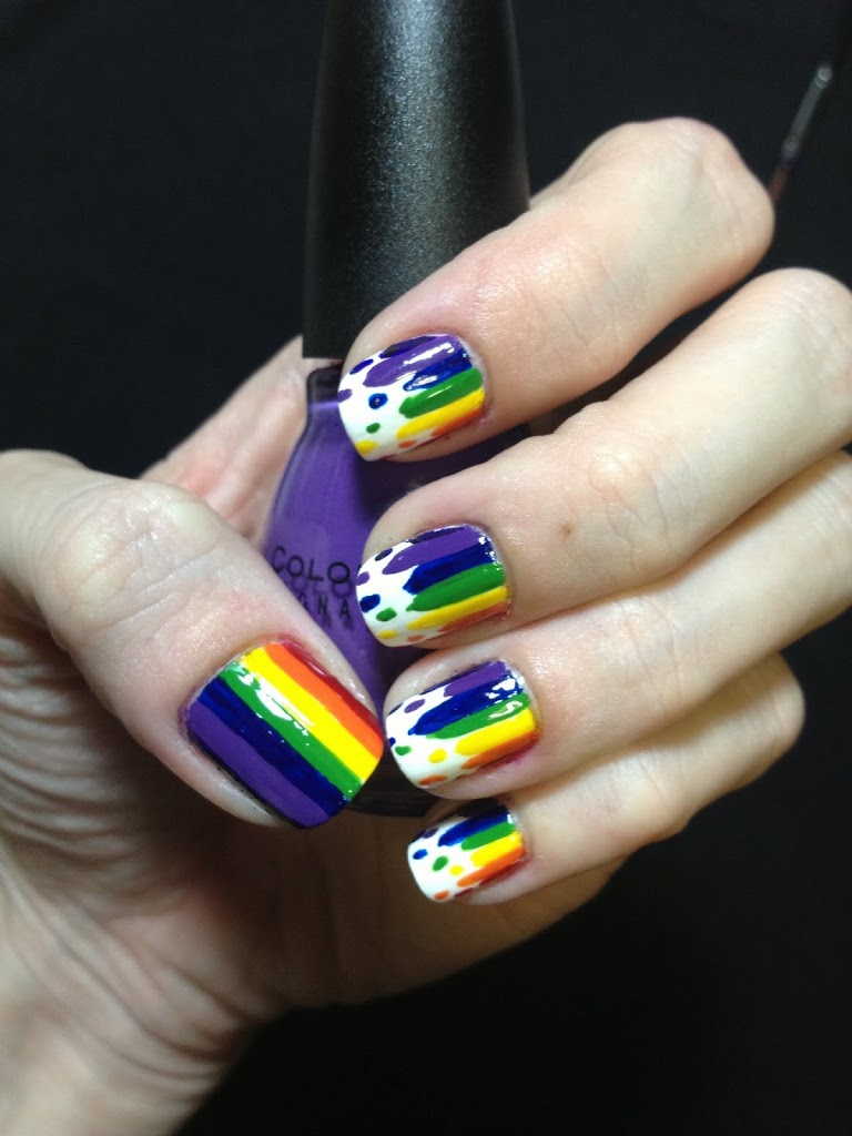 Dripping rainbow nails with bottle