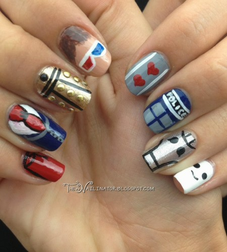 Doctor Who nail art: fez, blue suit, dalek, 3d glasses, two hearts, TARDIS, Cyberman, andipose