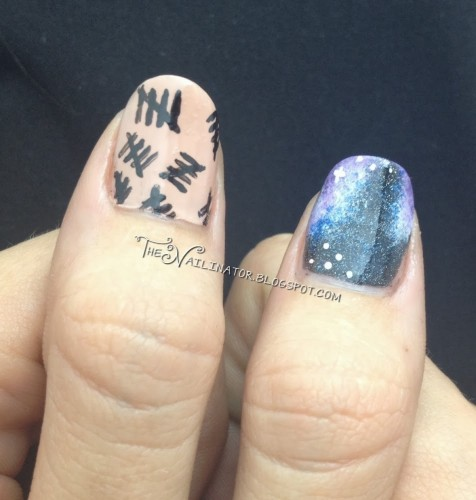 "Doctor Who nail art: tally marks from ""The Silence"" and galaxy nail"