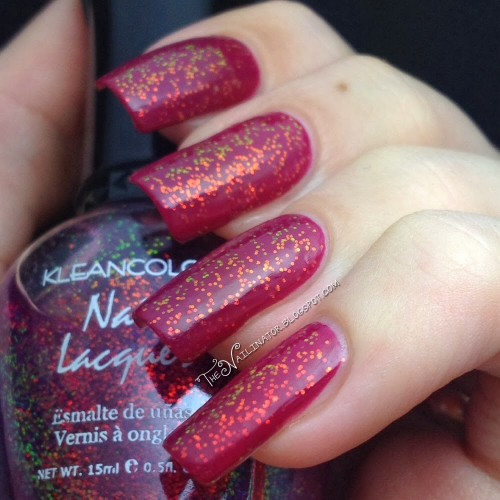 Kleancolor Chunky Holo Purple over San San Red Gleam