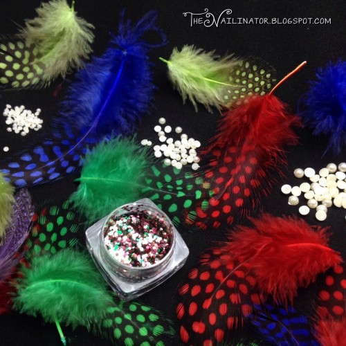 Colored feathers, glitter, and pearl studs