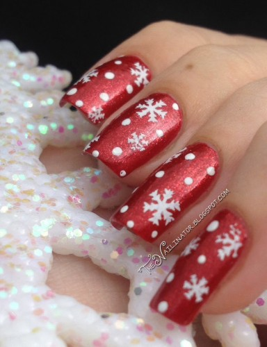 Snowflake stamping over L.A. Colors Aztec Orange