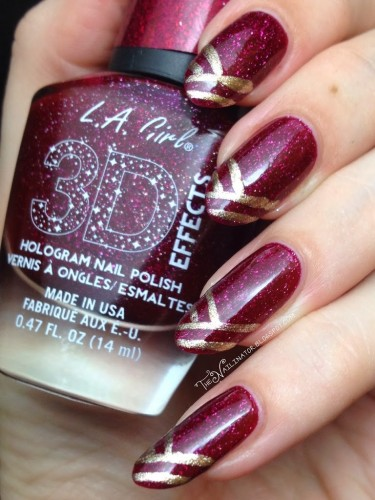 L.A. Girl Sparkle Ruby with edgy tips