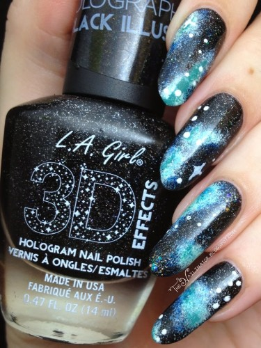 Nebula nails over L.A. Girl 3D Effects Black Illusion