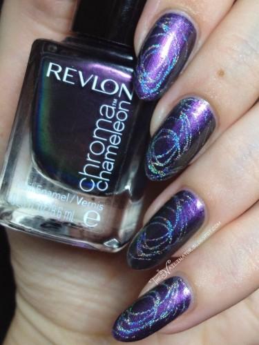 Revlon Chroma Chameleon Amethyst with holo swirl stamping