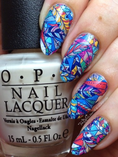 Hippie Feathers nail decal manicure