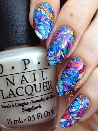 Hippie Feathers nail decals manicure 2