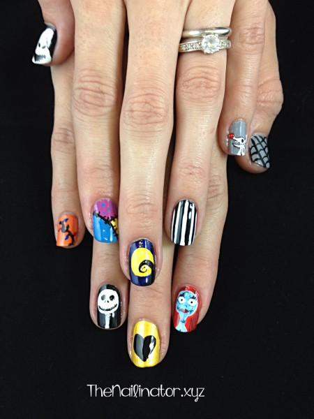 Nightmare Before Christmas Nail Art - both hands