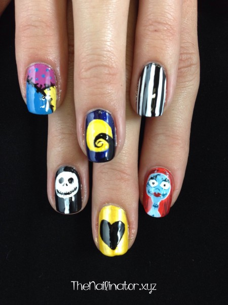 Nightmare Before Christmas Nail Art - Jack and Sally