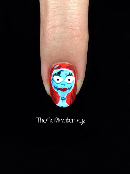 Nightmare Before Christmas Nail Art - Sally Close-up