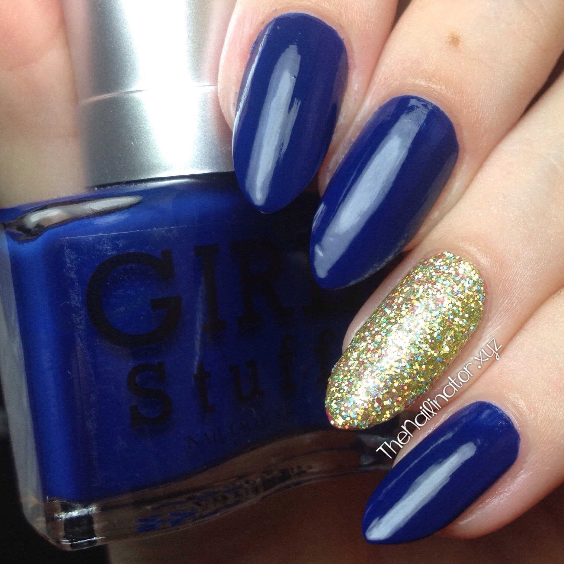 Girlstuff Blues with 24K sponged accent nail