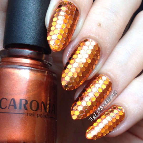 Orange Hexagonal Glitter over Caronia Bourrée