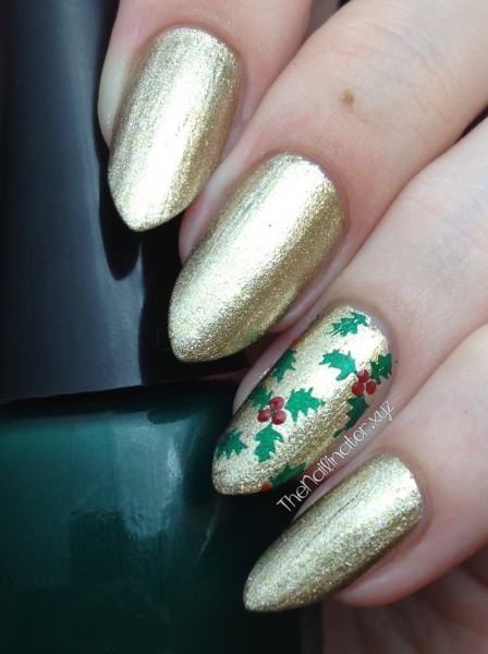 Gold nails with Christmas Holly Stamping Accent Nail