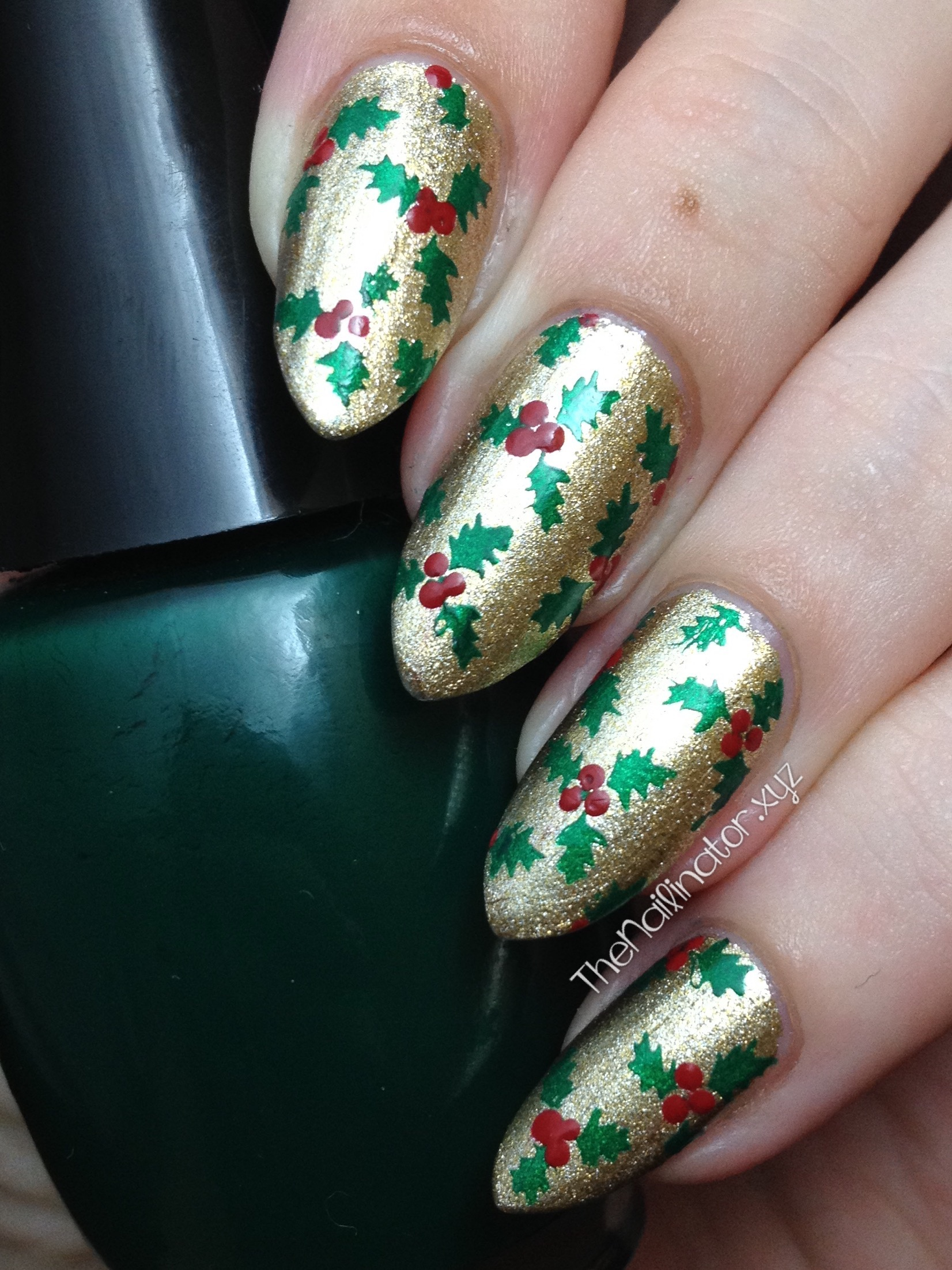 Holly jolly christmas stamping with ob19 the nailinator holly jolly christmas stamping nail art prinsesfo Gallery