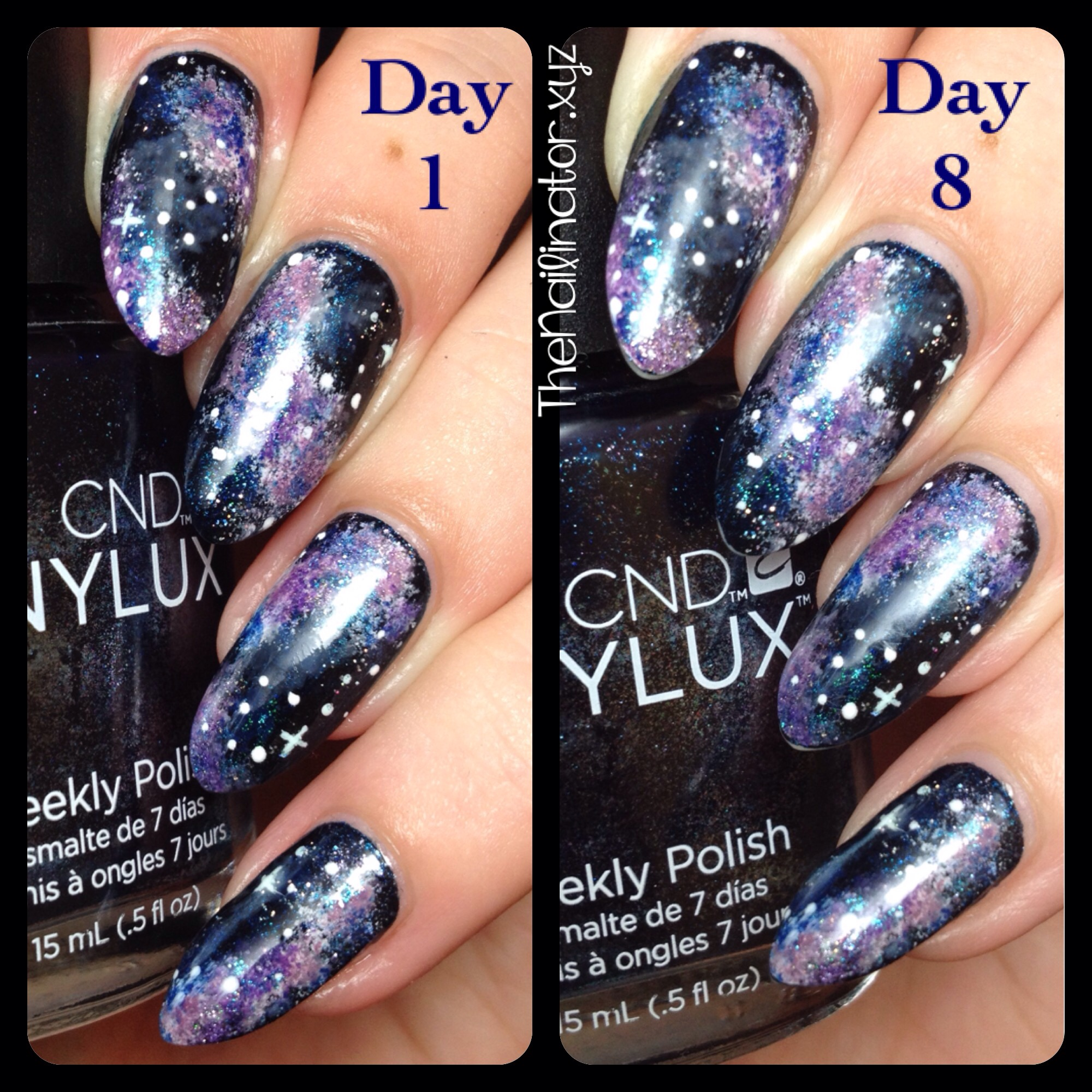 CND Vinylux Midnight Swim Nebula Nail Art | The Nailinator